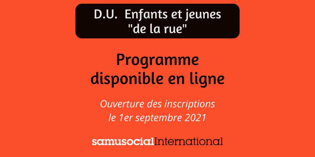 D.U. Enfants et jeunes « de la rue » – Programme 2021-2022 disponible !